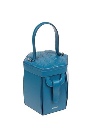 Mianqa Hakiki Deri Postacı Çantası Mavi